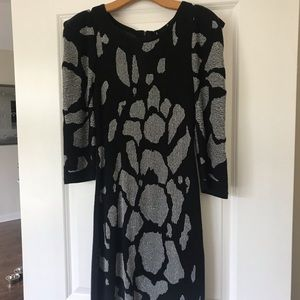 Black and Silver Glitter Bebe Sweater Dress
